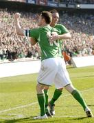 24 March 2007; Stephen Ireland, Republic of Ireland, celebrates with team-mate Robbie Keane after scoring his side's first goal. 2008 European Championship Qualifier, Republic of Ireland v Wales, Croke Park, Dublin. Picture credit: Brian Lawless / SPORTSFILE