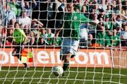 24 March 2007; Stephen Ireland, Republic of Ireland, scores his side's first goal. 2008 European Championship Qualifier, Republic of Ireland v Wales, Croke Park, Dublin. Picture credit: David Maher / SPORTSFILE
