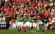 24 March 2007; Stephen Ireland, Republic of Ireland, celebrates infront of the Welsh fans on Hill 16 with his team-mates, from left to right, Kevin Kilbane, Lee Carsley, Paul McShane, Damien Duff and Robbie Keane, after scoring the opening goal of the game. 2008 European Championship Qualifier, Republic of Ireland v Wales, Croke Park, Dublin. Picture credit: Matt Browne / SPORTSFILE
