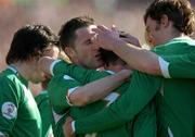 24 March 2007; Stephen Ireland, Republic of Ireland, celebrates with team-mates Robbie Keane and Kevin Kilbane after scoring his side's first goal. 2008 European Championship Qualifier, Republic of Ireland v Wales, Croke Park, Dublin. Picture credit: Brian Lawless / SPORTSFILE