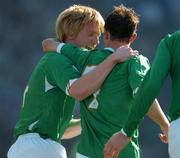 24 March 2007; Stephen Ireland, Republic of Ireland, celebrates with team-mate Paul McShane after scoring his side's first goal. 2008 European Championship Qualifier, Republic of Ireland v Wales, Croke Park, Dublin. Picture credit: Brian Lawless / SPORTSFILE