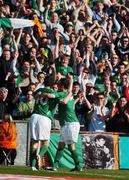 24 March 2007; Stephen Ireland, Republic of Ireland, celebrates after scoring his side's first goal with team-mate Robbie Keane. 2008 European Championship Qualifier, Republic of Ireland v Wales, Croke Park, Dublin. Picture credit: David Maher / SPORTSFILE
