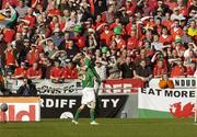 24 March 2007; Stephen Ireland, Republic of Ireland, celebrates, infront of the Welsh fans on Hill 16, with his team-mate Robbie Keane after scoring the opening goal of the game. 2008 European Championship Qualifier, Republic of Ireland v Wales, Croke Park, Dublin. Picture credit: Matt Browne / SPORTSFILE