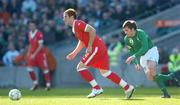 24 March 2007; James Collins, Wales, races clear of Kevin Kilbane, Republic of Ireland. 2008 European Championship Qualifier, Republic of Ireland v Wales, Croke Park, Dublin. Picture credit: Brian Lawless / SPORTSFILE