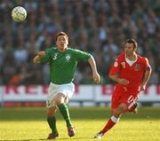 24 March 2007; Steve Finnan, Republic of Ireland, in action against Ryan Giggs, Wales. 2008 European Championship Qualifier, Republic of Ireland v Wales, Croke Park, Dublin. Picture credit: Brian Lawless / SPORTSFILE