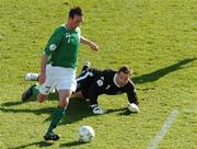 24 March 2007; The Republic of Ireland's Stephen Ireland rounds the Welsh goalkeeper Daniel Coyne to score for the first goal. 2008 European Championship Qualifier, Republic of Ireland v Wales, Croke Park, Dublin. Picture credit: Paul Mohan / SPORTSFILE *** Local Caption ***