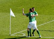 24 March 2007; The Republic of Ireland's Stephen Ireland celebrates with team-mate Robbie Keane after scoring the first goal. 2008 European Championship Qualifier, Republic of Ireland v Wales, Croke Park, Dublin. Picture credit: Paul Mohan / SPORTSFILE *** Local Caption ***