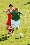 24 March 2007; Damien Duff, Republic of Ireland, in action against Gareth Bale, Wales. 2008 European Championship Qualifier, Republic of Ireland v Wales, Croke Park, Dublin. Picture credit: Paul Mohan / SPORTSFILE *** Local Caption ***