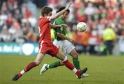 24 March 2007; Stephen Hunt, Republic of Ireland, in action against Samuel Ricketts, Wales. 2008 European Championship Qualifier, Republic of Ireland v Wales, Croke Park, Dublin. Picture credit: Matt Browne / SPORTSFILE