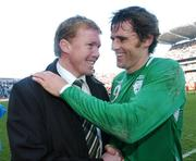 24 March 2007; Republic of Ireland manager Steve Staunton celebrates with Kevin Kilbane at the end of the game. 2008 European Championship Qualifier, Republic of Ireland v Wales, Croke Park, Dublin. Picture credit: David Maher / SPORTSFILE
