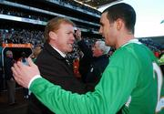 24 March 2007; Republic of Ireland manager Steve Staunton celebrates with John O'Shea at the end of the game. 2008 European Championship Qualifier, Republic of Ireland v Wales, Croke Park, Dublin. Picture credit: David Maher / SPORTSFILE