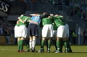 24 March 2007; The Republic of Ireland team in a huddle before the start of the game. 2008 European Championship Qualifier, Republic of Ireland v Wales, Croke Park, Dublin. Picture credit: Matt Browne / SPORTSFILE