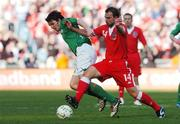24 March 2007; Jonathan Douglas, Republic of Ireland, in action against Carl Fletcher, Wales. 2008 European Championship Qualifier, Republic of Ireland v Wales, Croke Park, Dublin. Picture credit: David Maher / SPORTSFILE
