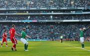 24 March 2007; Robbie Keane, Republic of Ireland, takes a throw in during the game. 2008 European Championship Qualifier, Republic of Ireland v Wales, Croke Park, Dublin. Picture credit: David Maher / SPORTSFILE