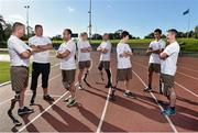 4 October 2014; Pictured are, from left to right, Sean Baldwin, Ted Smithers, Paul McKenna, Amanda King, Josh Dunne, Simon Baker, Pawan Sitthisung, and Gary Hoey at the first ever running blades workshop held in Ireland hosted by Paralympics Ireland in partnership with sponsors Mondelez, and blade manufacturer Ottobock. The unique event saw eight individuals who had been prefitted for the technology given the opportunity to experience and showcase the blades with almost a fifty additional prosthesis users and amputees taking part in activity session to promote Paralympic sport. Morton Stadium, Santry, Dublin. Picture credit: Barry Cregg / SPORTSFILE
