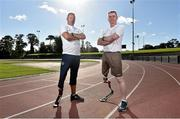 4 October 2014; Ted Smithers, left, from Santry, Dublin and Sean Baldwin, from Newbridge, Co. Kildare, pictured at the first ever running blades workshop held in Ireland hosted by Paralympics Ireland in partnership with sponsors Mondelez, and blade manufacturer Ottobock. The unique event saw eight individuals who had been prefitted for the technology given the opportunity to experience and showcase the blades with almost a fifty additional prosthesis users and amputees taking part in activity session to promote Paralympic sport. Morton Stadium, Santry, Dublin. Picture credit: Barry Cregg / SPORTSFILE