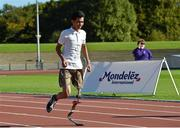 4 October 2014; 16 year old Pawan Sitthisung, from Navan, Co. Meath, pictured at the first ever running blades workshop held in Ireland hosted by Paralympics Ireland in partnership with sponsors Mondelez, and blade manufacturer Ottobock. The unique event saw eight individuals who had been prefitted for the technology given the opportunity to experience and showcase the blades with almost fifty additional prosthesis users and amputees taking part in activity session to promote Paralympic sport. Morton Stadium, Santry, Dublin. Picture credit: Paul Mohan / SPORTSFILE