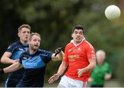 5 October 2014; Emlyn Mulligan, St Brigids, in action against Tom McKeon and Mark Sweeney, left, St Judes. Dublin County Senior Championship Quarter-Final, St Judes v St Brigids. O'Toole Park, Crumlin, Dublin. Picture credit: Piaras Ó Mídheach / SPORTSFILE
