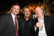 23 March 2007; Former Republic of Ireland Internationals Kevin Moran, left, and Liam Brady, right, with Eddie Jordan, attends an International dinner hosted by the Football Association of Ireland. Burlington Hotel, Dublin. Picture credit: David Maher / SPORTSFILE