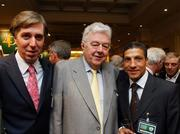23 March 2007; FAI chief Executive John Delaney, left, with his father Joe, and Chris Hughton, attend an International dinner hosted by the Football Association of Ireland. Burlington Hotel, Dublin. Picture credit: David Maher / SPORTSFILE