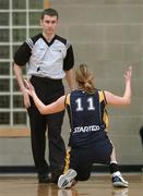 25 March 2007; Dearbhla Breen, UL Aughinish, reacts to a foul called against her by referee Shane Fleming. Women's Superleague Final, UL Aughinish v DCU Mercy, UL Arena, Co. Limerick. Picture credit: Brendan Moran / SPORTSFILE