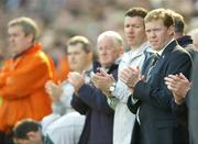 24 March 2007; Republic of Ireland manager Steve Staunton, with goalkeeping coach Alan Kelly, and Pat Devlin, before the start of the match. 2008 European Championship Qualifier, Republic of Ireland v Wales, Croke Park, Dublin. Picture credit: Brian Lawless / SPORTSFILE