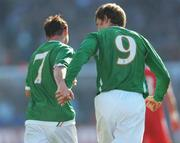 24 March 2007; Stephen Ireland, Republic of Ireland, celebrates with team-mate Kevin Kilbane, right, after scoring his side's first goal. 2008 European Championship Qualifier, Republic of Ireland v Wales, Croke Park, Dublin. Picture credit: Brian Lawless / SPORTSFILE
