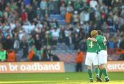 24 March 2007; Republic of Ireland players Paul McShane, left, and John O'Shea celebrate after the match. 2008 European Championship Qualifier, Republic of Ireland v Wales, Croke Park, Dublin. Picture credit: Brian Lawless / SPORTSFILE