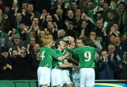 28 March 2007; Republic of Ireland's Kevin Doyle, third from right, celebrates after scoring his side's first goal with team-mate's, left to right, Paul McShane, Aiden McGeady, Rchard Dunne and Kevin Kilbane. 2008 European Championship Qualifier, Republic of Ireland v Slovakia, Croke Park, Dublin. Picture credit: David Maher / SPORTSFILE