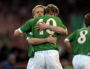 28 March 2007; Kevin Doyle, Republic of Ireland, with team-mate Damien Duff after scoring his side's first goal. 2008 European Championship Qualifier, Republic of Ireland v Slovakia, Croke Park, Dublin. Picture credit: Brian Lawless / SPORTSFILE