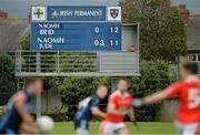 5 October 2014; A general view of the scoreboard near the end of the game, showing the full-time score. Dublin County Senior Championship Quarter-Final, St Judes v St Brigids. O'Toole Park, Crumlin, Dublin. Picture credit: Piaras Ó Mídheach / SPORTSFILE