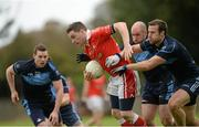 5 October 2014; Paddy Andrews, St Brigids, in action against Colm Murphy, right, Paul Cunningham and Chris Gurkian, left, St Judes. Dublin County Senior Championship Quarter-Final, St Judes v St Brigids. O'Toole Park, Crumlin, Dublin. Picture credit: Piaras Ó Mídheach / SPORTSFILE