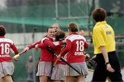 25 March 2007; Claire McMahon is congratulted by Claire McKee, left, Pegasus, after scoring her sides only goal. ESB Irish Women's Hockey Senior Cup Final, Pembroke Wanderers v Pegasus, Belfield, Dublin. Picture credit: Ray Lohan / SPORTSFILE  *** Local Caption ***