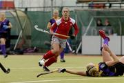 25 March 2007; Suzanne Beaney, Pegasus, in action against Aoife O'Gorman, Pembroke Wanderers. ESB Irish Women's Hockey Senior Cup Final, Pembroke Wanderers v Pegasus, Belfield, Dublin. Picture credit: Ray Lohan / SPORTSFILE  *** Local Caption ***