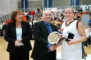 25 March 2007; Mary Fox, DCU Mercy, is presented with the MVP by Sean O'Reilly, Basketball Ireland. Women's Superleague Final, UL Aughinish v DCU Mercy, UL Arena, Co. Limerick. Picture credit: Brendan Moran / SPORTSFILE