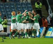 28 March 2007; Kevin Doyle,10, Republic of Ireland, celebrates his goal against Slovakia with team-mates from left Paul McShane, Richard Dunne,5, Aiden McGeady,8, John O'Shea and Stephen Ireland. 2008 European Championship Qualifier, Republic of Ireland v Slovakia, Croke Park, Dublin. Picture credit: Matt Browne / SPORTSFILE