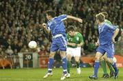 28 March 2007; Shane Long, 17, Republic of Ireland, has his header at goal saved by Slovakia keeper Kamil Contofalsky. 2008 European Championship Qualifier, Republic of Ireland v Slovakia, Croke Park, Dublin. Picture credit: Matt Browne / SPORTSFILE