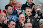 11 October 2014; Ireland head coach Joe Schmidt, right,  with IRFU Preformace Director David Nucifora. Guinness PRO12, Round 6, Ulster v Glasgow Warriors. Kingspan Stadium, Ravenhill Park, Belfast, Co. Antrim. Picture credit: Oliver McVeigh / SPORTSFILE