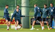 13 October 2014; Republic of Ireland players, from left, Shane Long, Anthony Stokes, Darron Gibson and Robbie Brady in action during squad training ahead of their UEFA EURO 2016 Championship Qualifer, Group D, game against Germany on Tuesday. Republic of Ireland Squad Training, Gannon Park, Malahide, Co. Dublin. Picture credit: Brendan Moran / SPORTSFILE