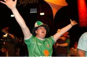 5 June 2002; Republic of Ireland fan Gregg Carroll, from Lucan, Dublin, celebrates Robbie Keane's late goal against Germany in the FIFA World Cup Finals. RDS Ballsbridge, Dublin. Picture credit: Aoife Rice / SPORTSFILE