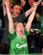 5 June 2002; Republic of Ireland fan Catherina Ryan, from Rathgar, Dublin, celebrates Robbie Keane's late equaliser against Germany in the FIFA World Cup Finals. The Submarine Bar, Dublin. Picture credit: Brendan Moran / SPORTSFILE