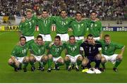 5 June 2002; The Republic of Ireland team who drew with Germany. Back row, from left, Steve Staunton, captain, Kevin Kilbane, Gary Breen, Ian Harte and Steve Finnan. Front, from left, Robbie Keane, Matt Holland, Mark Kinsella, Gary Kelly, Shay Given and Damien Duff. FIFA World Cup Finals, Group E, Republic of Ireland v Germany, Ibaraki Stadium, Ibaraki, Japan. Picture credit: David Maher / SPORTSFILE
