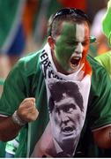 5 June 2002; A Republic of Ireland fans cheers on his side against Germany. FIFA World Cup Finals, Group E, Republic of Ireland v Germany, Ibaraki Stadium, Ibaraki, Japan. Picture credit: David Maher / SPORTSFILE