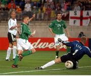 5 June 2002; Damien Duff, Republic of Ireland, gets his shot just past Germany goalkeeper Oliver Kahn and wide of the post. FIFA World Cup Finals, Group E, Republic of Ireland v Germany, Ibaraki Stadium, Ibaraki, Japan. Picture credit: David Maher / SPORTSFILE