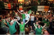 5 June 2002; Republic of Ireland fans celebrate Robbie Keane's late equaliser against Germany in the FIFA World Cup Finals. The Submarine Bar, Dublin. Picture credit: Brendan Moran / SPORTSFILE