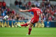 18 October 2014; Munster's Ian Keatley kicks a drop goal to win the game with the last kick of the game. European Rugby Champions Cup 2014/15, Pool 1, Round 1, Sale Sharks v Munster, AJ Bell Stadium, Sale, Greater Manchester, England. Picture credit: Brendan Moran / SPORTSFILE