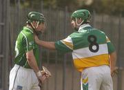 15 April 2007; Barry Teehan, Offaly, gets to grips with Andrew O'Shaughnessy, Limerick. Allianz National Hurling League, Division 1, Relegation Play-Off, Offaly v Limerick, McDonagh Park, Nenagh, Co. Tipperary. Picture credit; Pat Murphy / SPORTSFILE