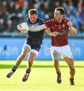 18 October 2014; Ronan Joyce, St Jude's, in action against Declan Lally, St Oliver Plunkett's-Eoghan Ruadh. Dublin County Senior Football Championship, Semi-Final, St Oliver Plunkett's-Eoghan Ruadh v St Jude's, Parnell Park, Dublin. Picture credit: Stephen McCarthy / SPORTSFILE