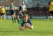 18 October 2014; Kieran Marmion, Connacht, goes over to score his side's second try. European Rugby Challenge Cup 2014/15, Pool 2, Round 1, Connacht v La Rochelle, The Sportsground, Galway. Picture credit: Barry Cregg / SPORTSFILE