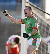 19 October 2014; Frankie Dolan, St Brigid's, celebrates after team-mate Senan Kilbride scores their sides second goal of the game. Roscommon County Senior Football Championship Final, St Brigid's v St. Faithleach, Hyde Park, Roscommon. Picture credit: Barry Cregg / SPORTSFILE